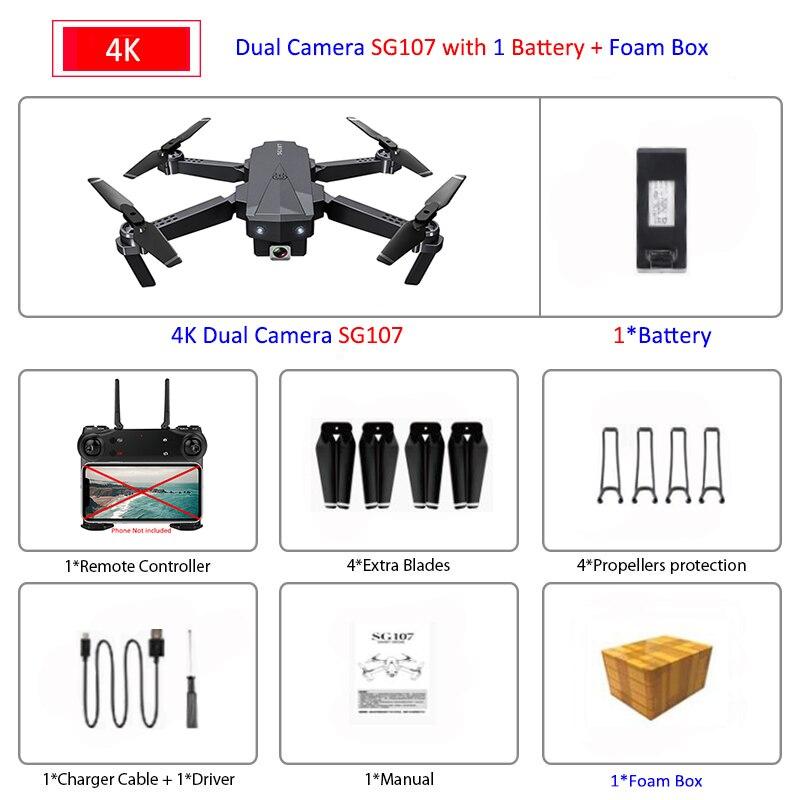 ZLRC SG107 Mini Drone with 4K WIFI 1080P FPV Camera 2.4GHZ Quadcopter Optical Flow Quadrocopter Camera Toys VS E58 E68 SG106