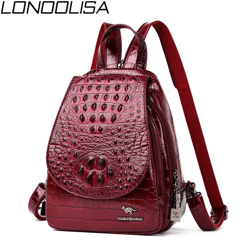 3 In 1 Ladies Crocodile Pattern Backpack High Quality Luxury Soft Leather Women Bags Travel Small Backpack  Mochilas Mujer 2019