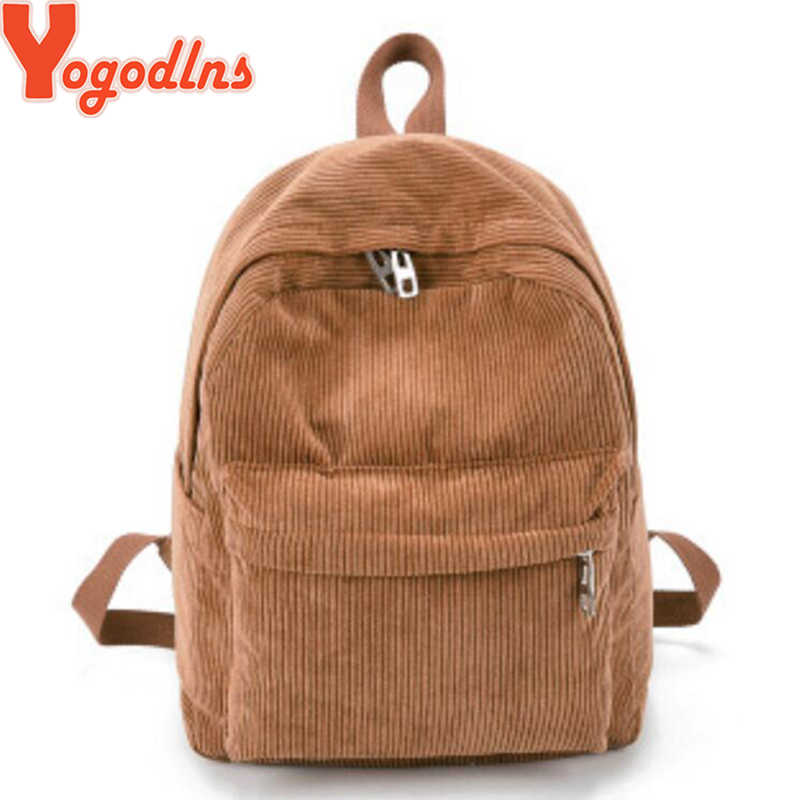 Yogodlns 2019 New Corduroy Women Backpack Pure Color Women Travel Bag Fashion Double Backpack Female Mochila Bagpack Pack Design