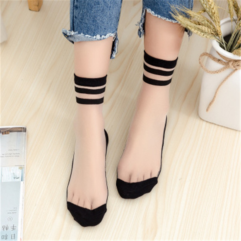 1Pair Girls Transparent Two Bars Short Socks Women Summer Thin Harajuku Ankle Socks Hipster Art Low Cute Socks Female Soxes
