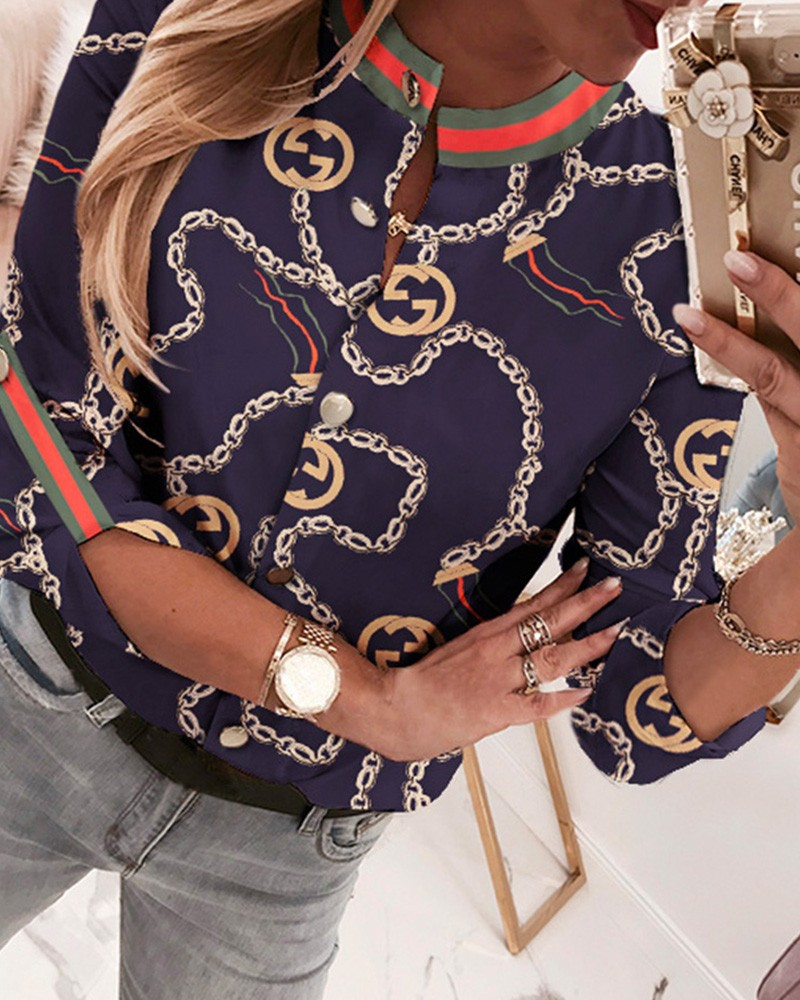 Chain Print Baroque Button Through Casual Shirt Women Blouse Tops Blouses & Shirts  - AliExpress