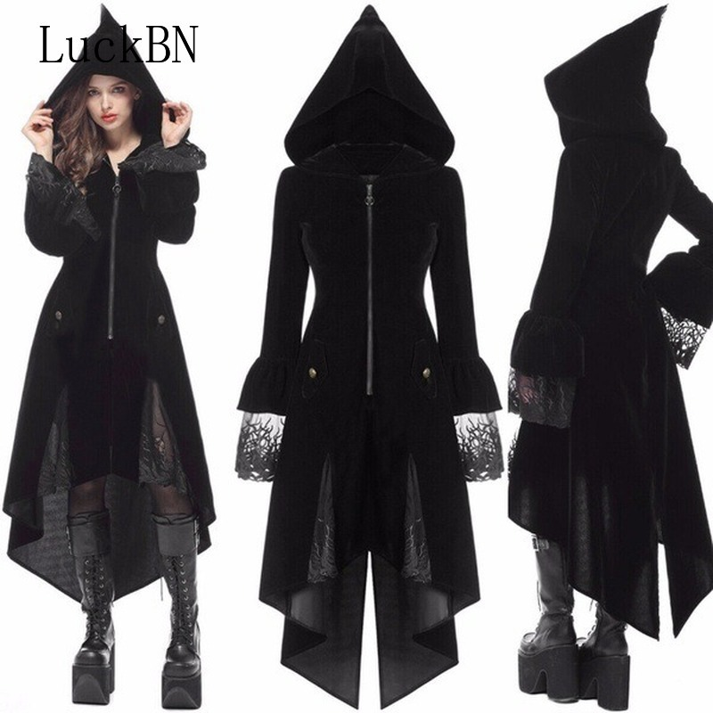 LuckBN 5XL Large Size Coats Female Coat 2019 Autumn Winter Coat Brother Slim Long Retro Gothic Medieval Women's Black Jacket