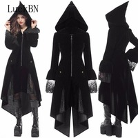 LuckBN 5XL Large Size Coats Female coat 2019 Autumn Winter Coat Brother Slim Long Retro Gothic Medieval Women's Black Jacket