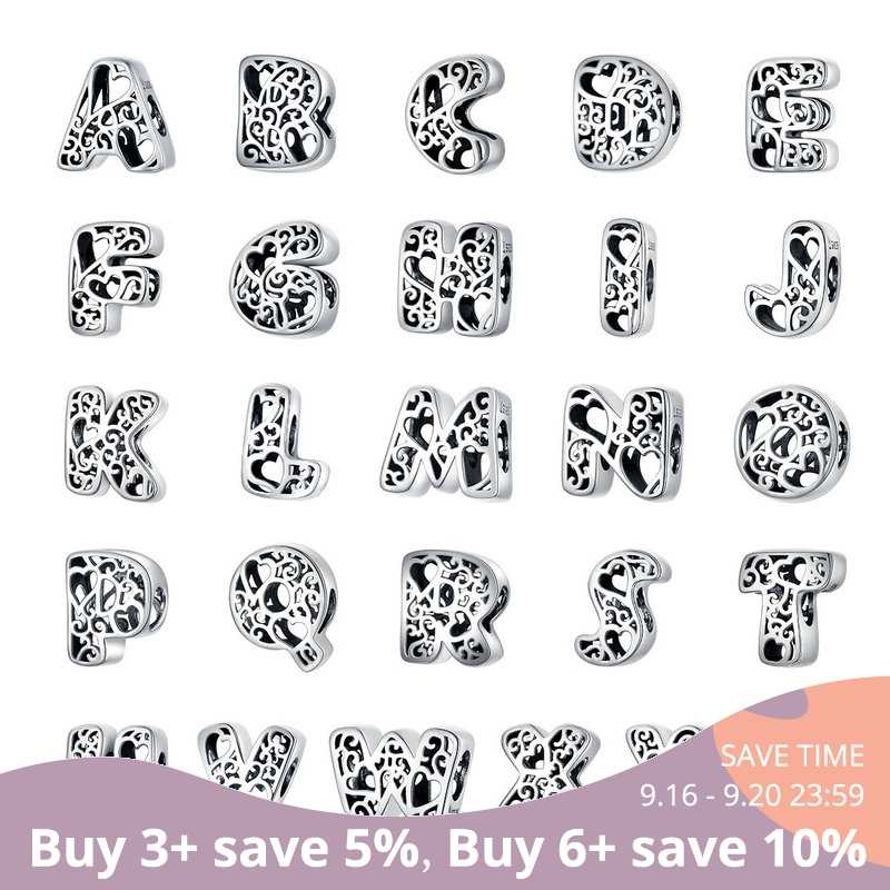 bamoer Funny Bubble Letter Alphabet Metal Beads for Original Silver 925 Bracelet Heart Pattern Charms DIY Jewelry SCC1229