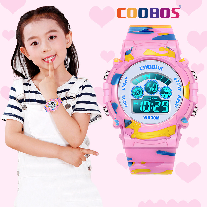 Pink Camouflage Kids Watch For Girls Sport Waterproof Digital Watches Boy LED Luminous Date Clock Multifunction Relogio Infantil