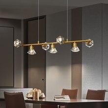 Nordic ouro cobre led pingente lâmpada de cristal luxo abajur pendurado luz para sala jantar cozinha ilha decoração interior dispositivo elétrico