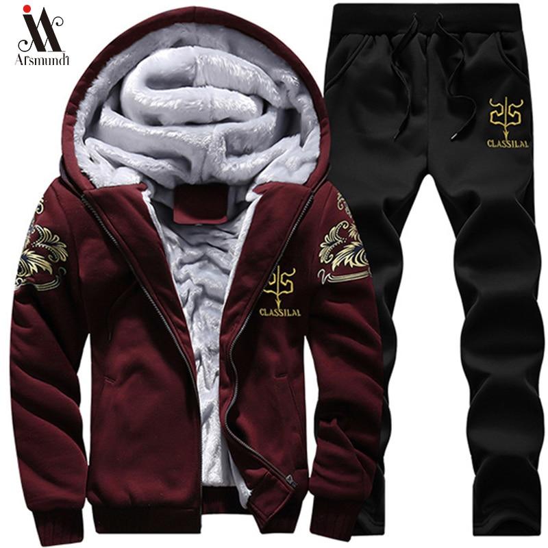 Hoodie Sweatshirt Men/Women 2019 Coat Fashion Hoodies Sweatshirts+Sweatpants Suit Autumn Winter Warm Logo Printed Hooded Pullove
