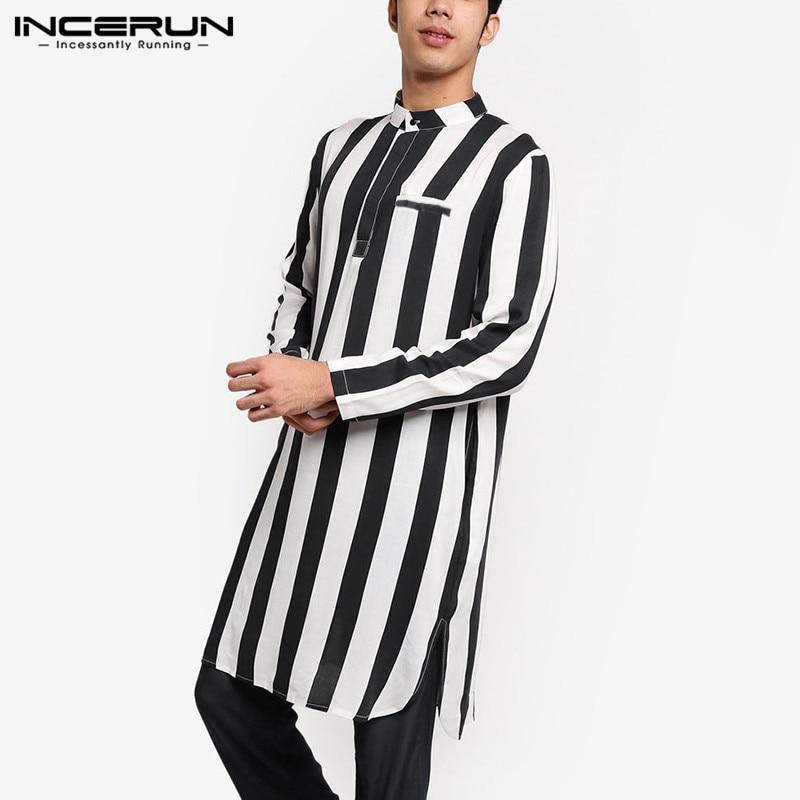 2020 Fashion Men Striped Kurtas Long Shirts Long Sleeve Stand Collar Muslim Katan Streetwear Mens Indian Clothes INCERUN S-5XL