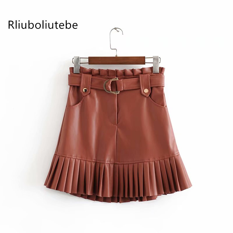 Sexy PU Leather Mini Skirts With Belt Autumn Winter Women High Waist Pleated Skirts Streetwear Paryt A-line Skater Skirts