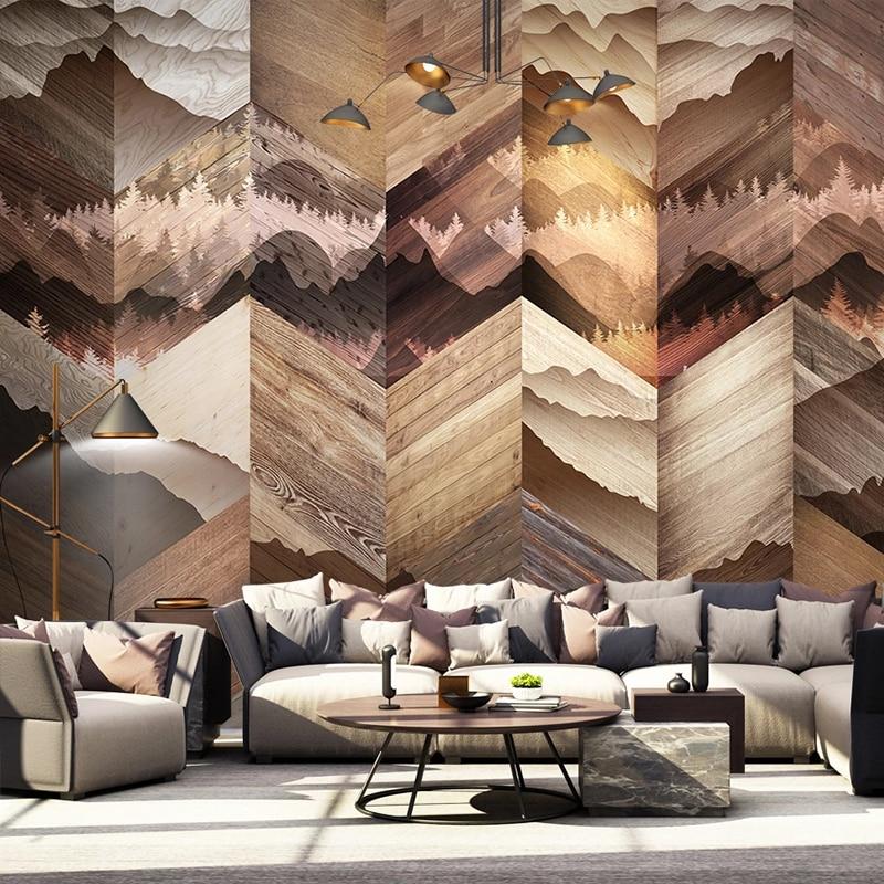 Custom Wallpaper Murals Pine Tree Forest Wood Board Wood Grain 3D Mural Modern Living Room Study Room Decoration Wall Painting