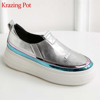 new arrival hot saling metal cow leather platform slip on sneakers round toe thick bottom non-slip leisure vulcanized shoes L37