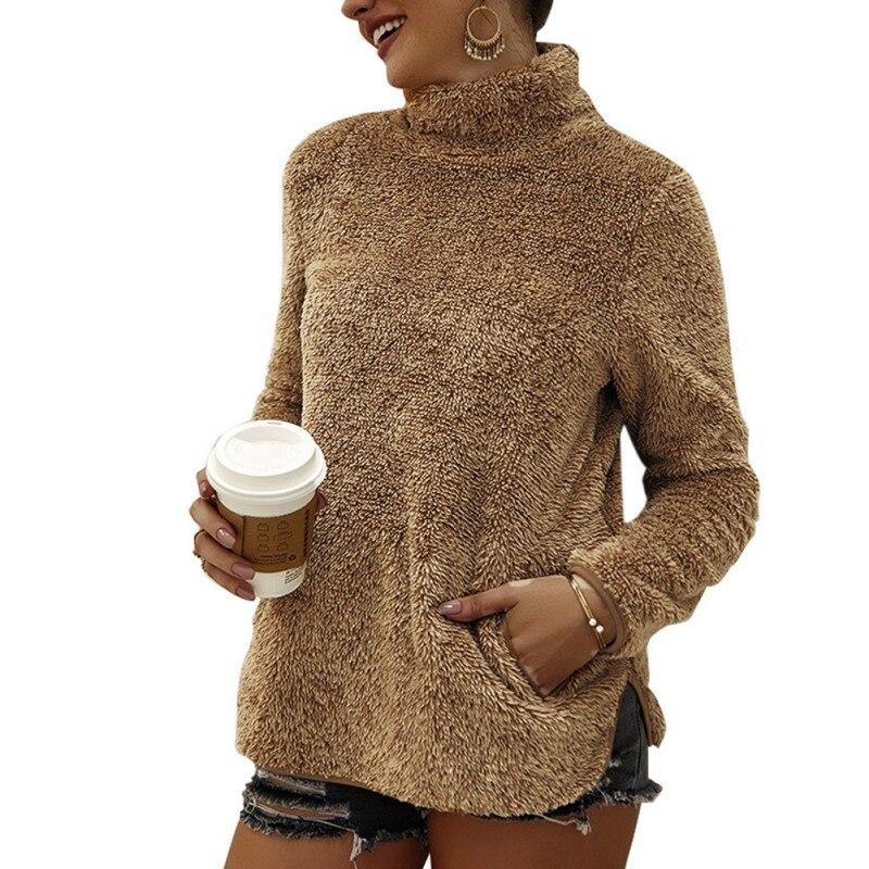 2019 Autumn Winter Warm Fleece Sweatshirt Women Casual Solid Color Long Sleeve Turtleneck Pullovers Pockets Fashion Sweatshirts in Hoodies amp Sweatshirts from Women 39 s Clothing