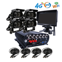 4CH 4G GPS WIFI 1080P 3TB HDD Mobile Vehicle Car DVR Video Recorder System SONY IP69 Rear Side Front Camera for Truck Van Bus RV