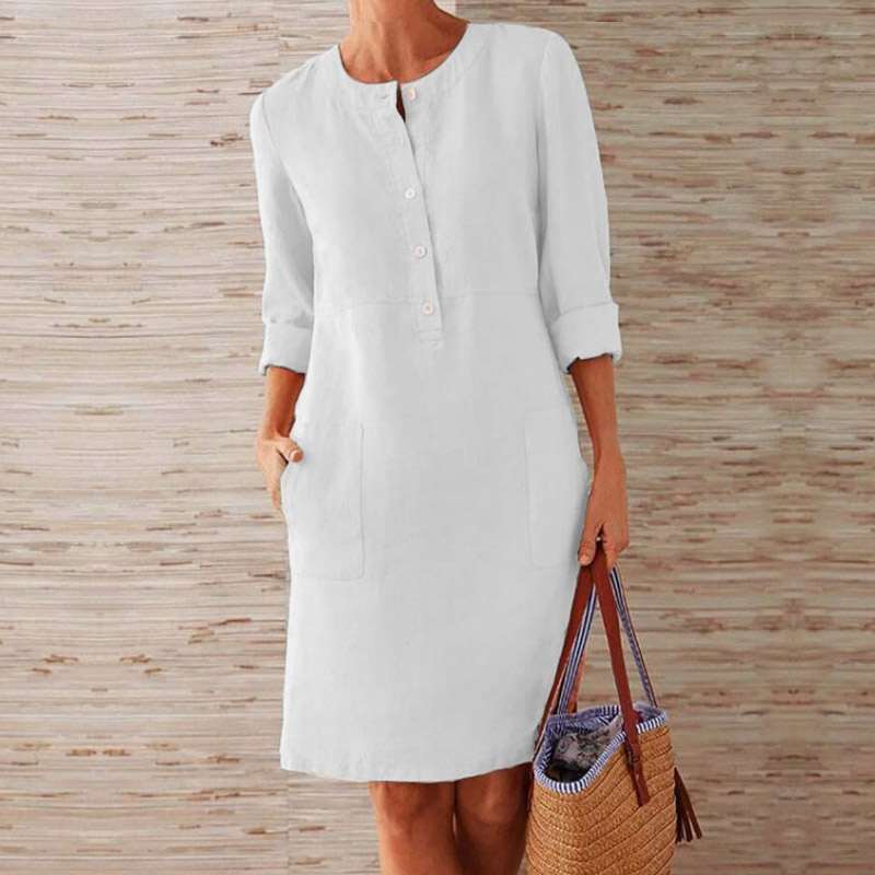 CAIDA Spring Cotton Linen Dress Fashion Button O-Neck Knee Party Dress Women Long Sleeve Pocket Solid Dresses 11