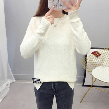 цена на Core Yarn Autumn And Winter New Sweater Female Korean Version Of The Loose Round Neck Solid Color Shirt Shirt Raglan Sleeves