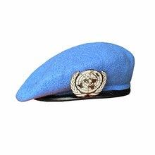 UN BLAU BASKENMÜTZE Vereinigten Nationen, Kraft Kappe Hut Mit UN Abzeichen Cockade Souvenir