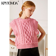 KPYTOMOA-Chaleco corto de punto para mujer, suéter de cuello alto clásico, sin mangas, Tops Chic, 2021