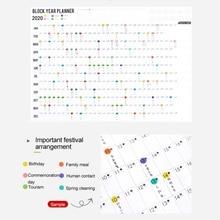 Год настенный календарь планировщик ежедневный план настенный бумажный календарь с 2 листами EVA наклейки для офиса школы дома