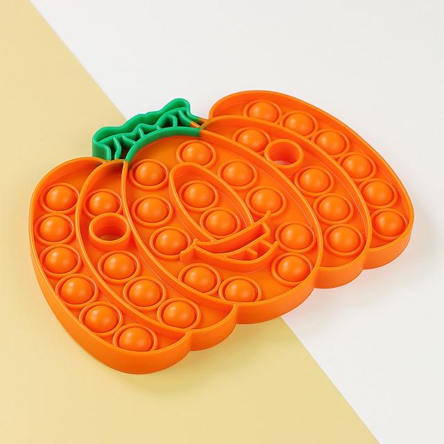 Halloween Gift Rainbow Pumpkin Food Fidget Toy Push Bubble Stress Sensory Toy 3
