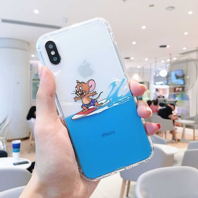 Funny Cartoon Cute Cat and mouse creative seaside phone case for iphone