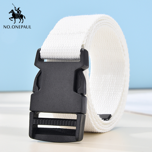 Comfortable solid color cloth with brand luxury buckle new casual outdoor tactical belt 3