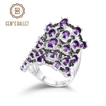 GEM'S BALLET Luxury 925 Sterling Silver Gemstone Vintage Ring 7.44Ct Natural Amethyst Finger Rings For Women Fine Jewelry
