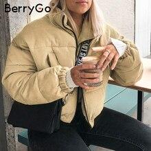 BerryGo w stylu casual, sztruksowa gruba parka płaszcz zimowy ciepły modna odzież wierzchnia płaszcze damskie odzież uliczna oversize kurtka płaszcz kobiet