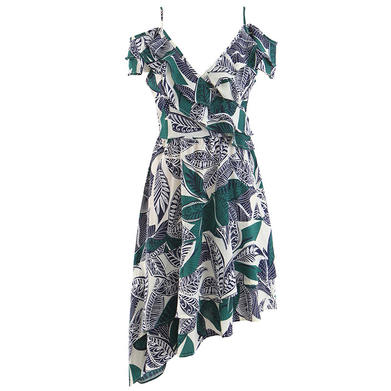AcFirst Summer Bohemian Green Women Long Dresses Printed Backless V Neck Holiday Sexy Plus Size Sundress Beach Style