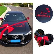 Свадебное украшение автомобиля Романтический бантом вечерние украшения для автомобиля красочные DIY бант письмо, любовь, сердце Свадебные украшения