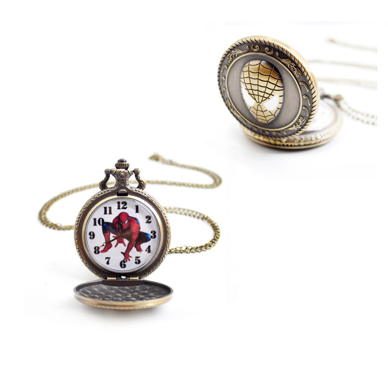 Cartoon Batman Pendant Pocket Watches Child Necklace Chain Fashion Gifts For Boys Mens Kids Simple Roman Number Quartz Fob Watch