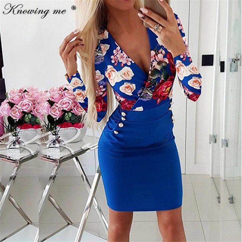 <font><b>5XL</b></font> Autumn long sleeve Flower Print Button <font><b>Dress</b></font> Women <font><b>Sexy</b></font> Deep V Neck Bodycon <font><b>Dress</b></font> Lady winter Slim Pockets Party Mini <font><b>Dress</b></font> image