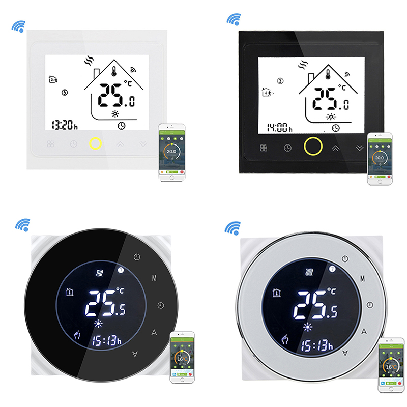 Thermostat Alexa Wifi Thermostat LCD Touch Screen Smart Voice Water Heating Thermostat Support 5 Language Temperature Controller