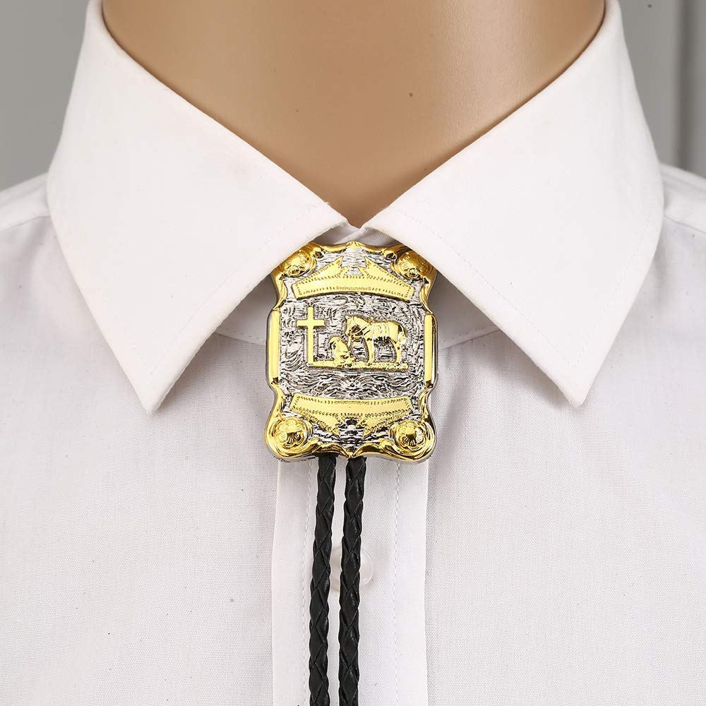 Gold Cross Pray Horse Rectangle Bolo Tie For Man Cowboy Western Cowgirl Lather Rope Zinc Alloy Necktie