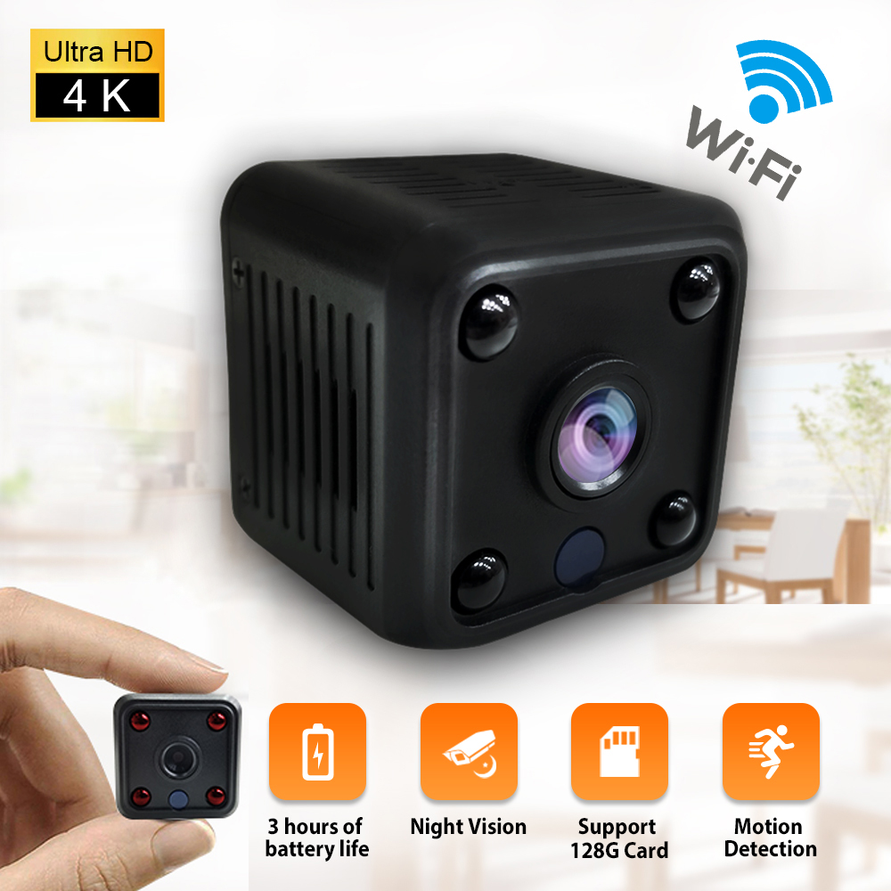 4K Mini WIFI Camera Rechargeable IP Camera 1080P Night Vision Baby Monitor With Microphone Playback Security Wireless Cameras
