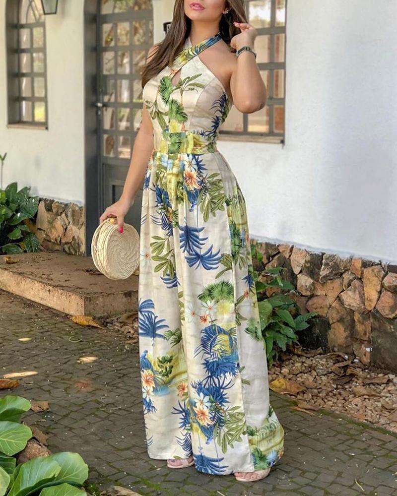 Femmes entrecroisées licou imprimé Tropical combinaisons large jambe barboteuse élégant été tenues fête soirée dames décontracté combinaison
