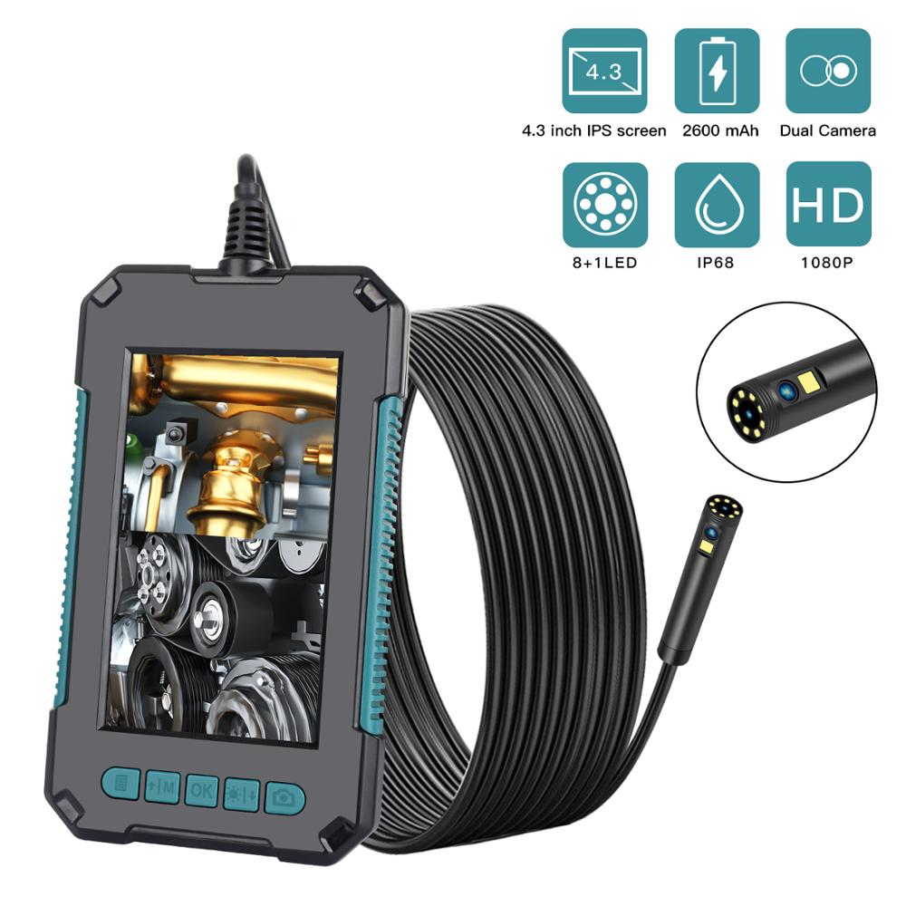 2020 vídeo do carro endoscópio câmera dupla boroscope lente dupla câmera flexível tubo de drenagem esgoto inspeção do motor câmera com tela