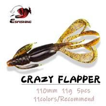 Esfishing pesca isca de pesca de silicone iscas macias crazy flapper 110mm 11.4g 5 pçs swimbait carpa pesca backles baixo isca