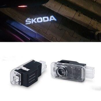 Luz de bienvenida para puerta de coche de 2 piezas para Skoda excelente 2006-2008 viejo Skoda Octavia 2004-2006 para Skoda febia 2007-2009 Fabia 2006-2009