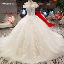 Ball-Gown Wedding-Dresses Sweetheart Long-Train Off-Shoulder Lace-Up with 100%Real as