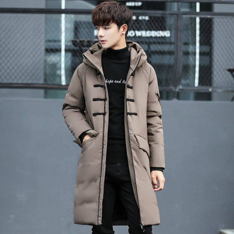 New 2020 Men's Down Jacket Thick Long Winter Coat Men Causual Slim Parka Hooded Mens Outwear 3XL Chaquetas Hombre WXF507