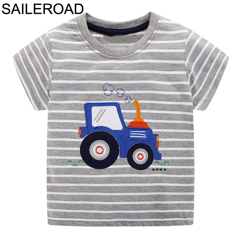 SAILEROAD Tractors Applique T-shirt For Boy Summer Kid Clothes Child T-shirts Cotton 100% Children Tops Clothing Baby Shorts
