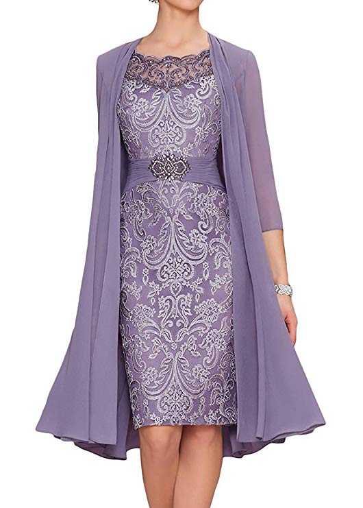 Plus Size 2019 Mother Of The Bride Dresses Sheath Knee Length Chiffon Appliques Beaded With Jacket Mother Dresses For Wedding