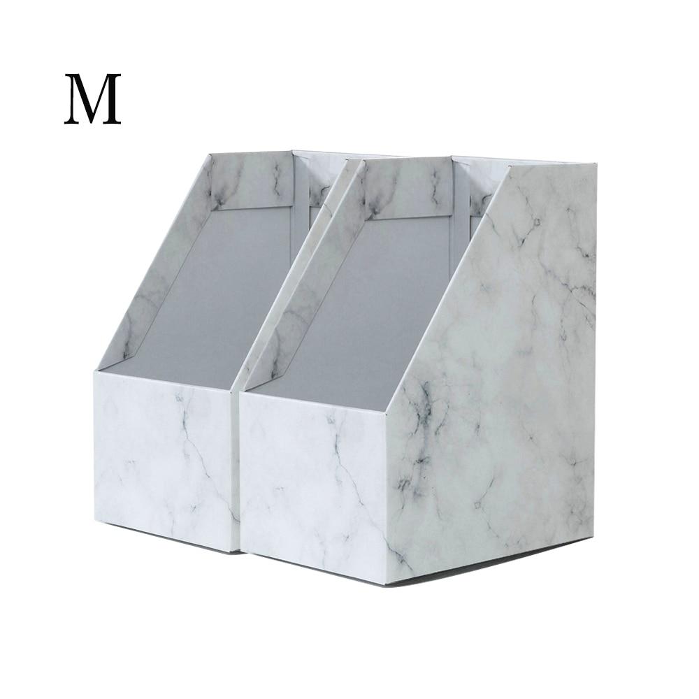 Foldaway File Holder Marble Newspaper Box Desk Top Organizer Magazine Bookend White Corrugated Paper Office Stationery L(8PCS)