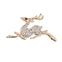 Gariton Gold Color Running Deer Brooches Rhinestone Women Brooch Pins Dress Jewelry Elegant Lapel Pins цена в Москве и Питере
