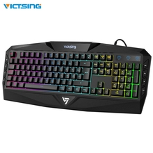 VicTsing Gaming Keyboard USB Wired Keyboard with Rainbow Backlit and Spill-Resistant Design Strong durability 8 Multimedia key ydl g 1 usb 2 0 wired 114 key backlit gaming keyboard black