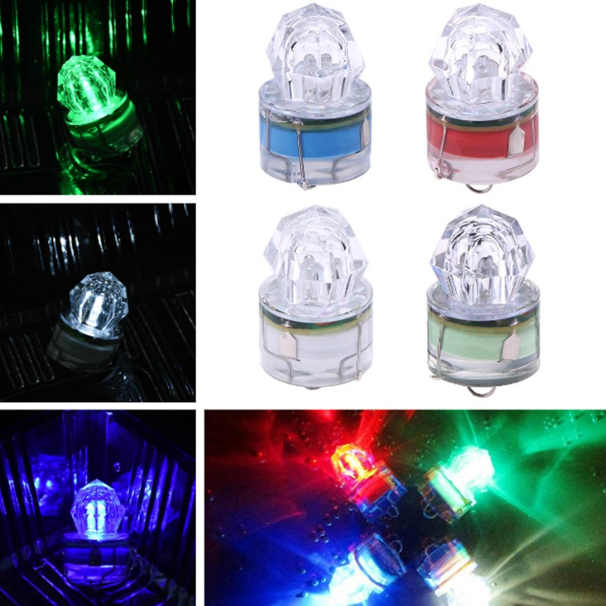 YORZENG Mini ABS LED Waterproof Fishing Bait Light Squid Fishing Lures Bait Deep Drop Diamond Underwater Fish Lure Lamp Lights