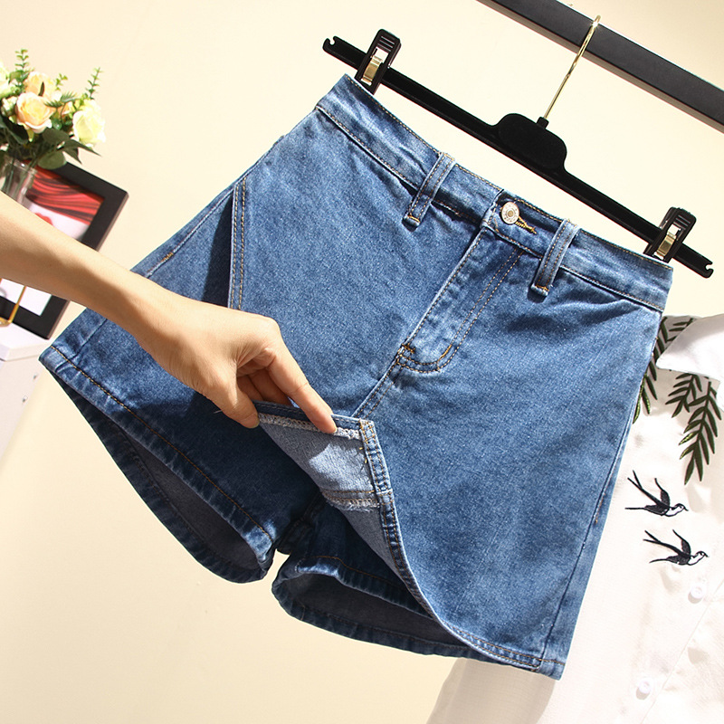 Fat Mm Summer Wear 2019 New Style Large Size WOMEN'S Dress Cowboy Shorts Women's Large GIRL'S Loose Pants Shorts A Generation Of