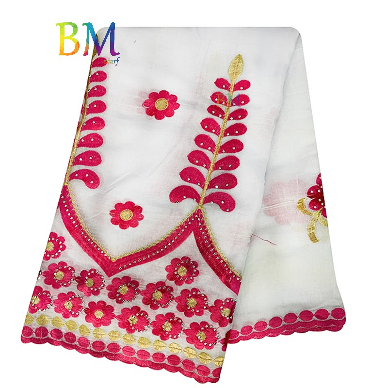 High Quality African Women Special Scarfs Muslim Women Embroidery 100% Cotton Scarf Party Wedding Scarf EX59