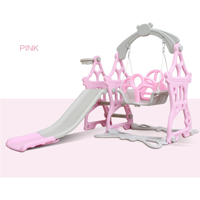 Baby Swing Chair 3 in 1 Slide Combination Shoot Basketball Kids Mini Playground Indoor Multi-Functional Slide Set free shipping 1