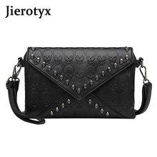 Handbags Skull Travel Crossbody Black Women's Fashion Tote Rivets Messenger Prints JIEROTYX